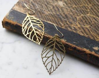 Vintage Brass Leaf Earrings   Large