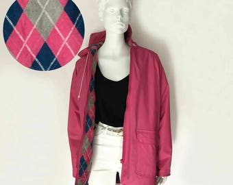 The Pacific Coast Pink Vintage 80s Rain Coat Rubber Vinyl Waterproof Outerwear Hooded Jacket Pink Aryglye Flannel