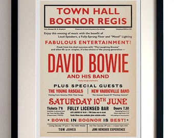 David Bowie concert poster, David Bowie poster, music print, David Bowie, concert poster, David Bowie print, Playbill, Bognor Gig Poster