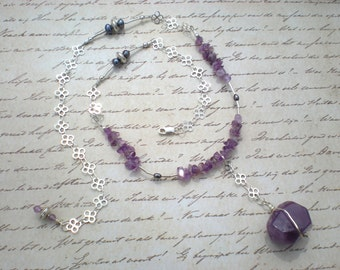 Sunday twilight beaded necklace, one of a kind, amethyst, sterling silver, pearls, purple, unique jewelry by Grey Girl Designs on Etsy