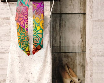 Boho scarf, Chiffon Scarf, Moroccan floral scarf, Statement scarf, Bohemian scarf, Wearable Art, Ethnic scarf, Gift for Women, SCdp050-2