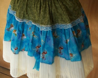 Tink and Friends Green and Blue Lolita  Skirt by Erikas Chiquis