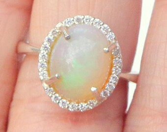 SALE, Sz 7, HUGE Welo Opal Ring, White Sapphire Halo,Natural Gemstone, Sterling Silver, Fine Jewelry, Ethiopian Opal, Semi-Transparent Opals