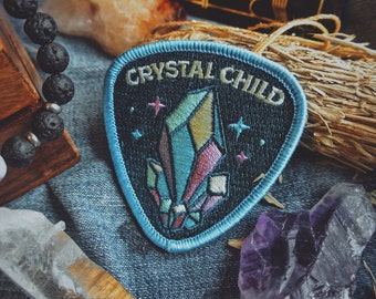 "Crystal Child Patch - Metaphysical - 2.5"" Iron-On Embroidered Patch - Crystal, Indigo, Rainbow Child -  For Crystal Lovers & Rock Hounds"