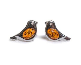 Henryka Amber & Silver Small Bird Stud Earrings