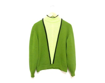 Vintage 1960s Sweater | Neon Green 1960s Mod Sweater | size large