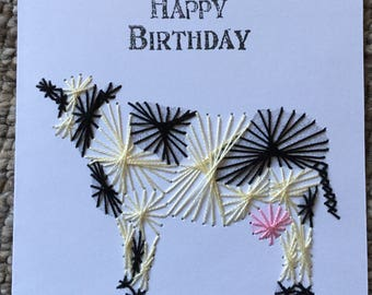Hand embroidered Birthday Card of a Dairy Cow