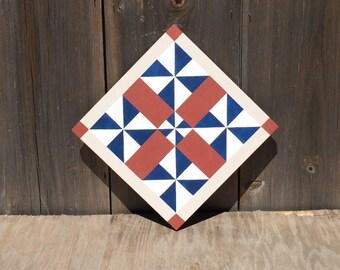 Hand painted rustic barn quilt. 2'x2', 5-pinwheel quilt block. Americana. Indoor/outdoor, weather/UV resistant