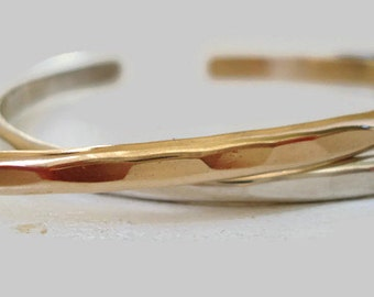 One 14K Gold Filled Hammered Cuff Bracelet