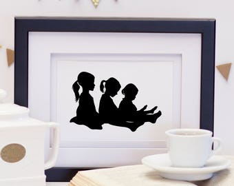 Mother's Day Art Print, Sisters Silhouette Art, 3 Daughters Portrait, Silhouette Art, Gift for Mom, Mother's Day Print, Custom Silhouettes