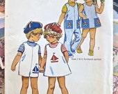 Vintage 1970s Childrens Jumpsuit Pattern or Girls Dress - Simplicity 9840