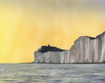 Belle Toute and Beachy Head at Sunset, mounted and signed print