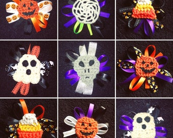 Crocheted Halloween Hair bows / clips
