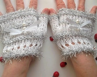 Crocheted Cotton Gloves M Ready To Ship Victorian Fingerless Summer Women Wedding Lace Evening Hand Knitted Party Opera White Corset B74