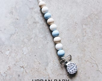 Pacifier Clip, Silicone Pacifier Clip, Teether, Silicone Beads, Food Grade, Chewelry, Hunter, Powder Blue, Beige, White