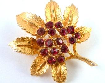 Vintage Leaf Brooch, Red Rhinestone Set Leaf Brooch.