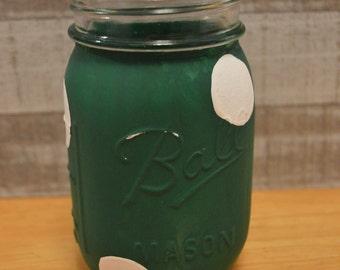 Green and White Polka-Dot Jar