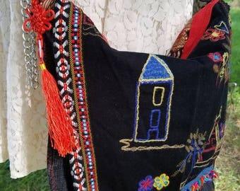 Elephant and Village Gypsy, Boho, Upcycled Crossbody Shoulder Bag Purse