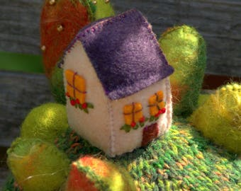 """RESERVED - """"Home sweet home"""" - figurine decorative House on Hill, textile art"""