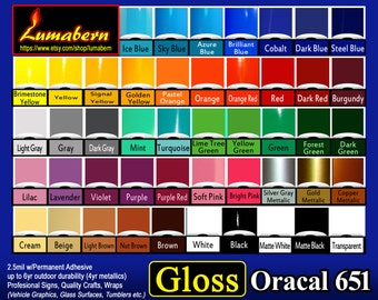 """1 roll 9"""" Oracal 651 High Gloss adhesive backed vinyl professional sign/craft Outdoor Quality - use with silhouette Cutters, stamp/die cut,"""