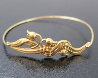 Lily Bracelet, Lily of the Valley Jewelry, Gold, Lily Bangle, Lily Jewelry, Flower Bangle Bracelet, Flower Bracelet, Lily Flower Jewelry