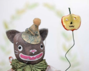 Nostalgique primitive folk art pendentif ornement chat chat art doll