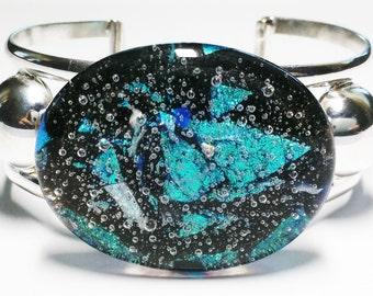 Beautiful Vintage Glass Sterling Silver Cuff Bracelet