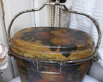 Stunning Vintage Victorian Roses Decoupage Fire Bucket With Chunky Metal Handle And Lid Clips
