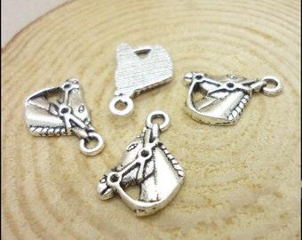 10pcs 13x17mm Antique Silver Horse Pendants Handmade Jewelry Accessories LJ0059