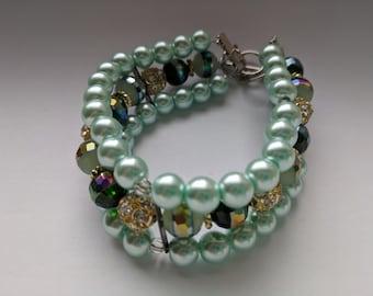 Elegant Blue Adjustable Toggle Cuff Beaded Bracelet