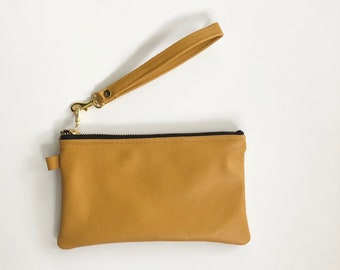 Ready to ship! Mustard yellow genuine leather wristlet with strap