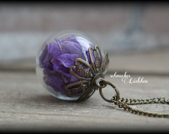 Antique Bronze glass ball flower necklace with real beach lilac