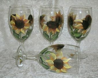 SUNFLOWER GLASSES set of four