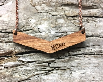 Mama Chevron Personalized Wood Necklace - Engraved Name Wooden Bar Drop Necklace with Copper Tone Chain - Mothers Day Gift