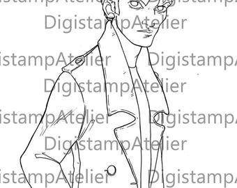 Edward Cullen Comic. INSTANT DOWNLOAD Digital Digi Stamps.