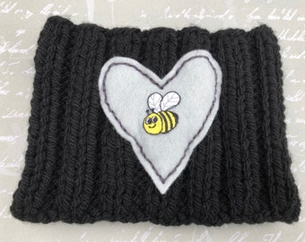 Black & grey Floof warmer with grey heart and Bee detail