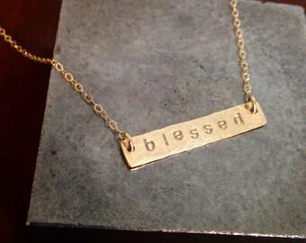 Custom Hand Stamped Gold Filled Bar Necklace
