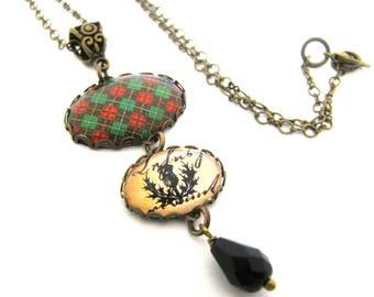 Tartan écossais Tartan Bijoux Collier Bruce Tartan collier breloque en w/chardon et Onyx noir verre tchèque rouge vert noir
