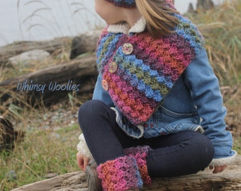 Crochet Pattern: Boot Cuffs, Buttoned Scarf, Headband, Child-Women, Easy Crochet