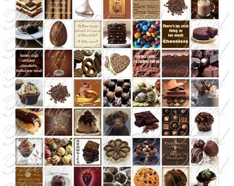 Chocolate - 3 sizes - Inchies, 7-8 inch, AND scrabble tile size .75 x .83 inch - Digital Collage Sheet - INSTANT DOWNLOAD