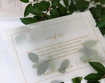 Vellum Confetti Envelope, Natural Confetti Favor, Wedding Confetti Toss, Biodegradable & Eco Friendly Confetti Envelopes