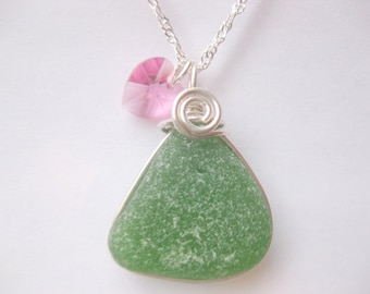 Birthstone jewelry seaglass jewelry Birthstone pendant birthstone necklace Jewelry, Handmade Custom Jewelry