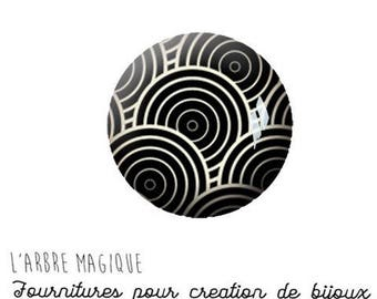 2 cabochons craft geometric Japanese black-and-white ref 1167 - 18 mm