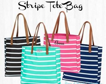 Stripe Tote, Monogram Tote Bag, Personalized Tote Bag, Navy Stripe Tote Mint Stripe Tote,Black Stripe Tote,Hot Pink Stripe Tote,Striped Tote