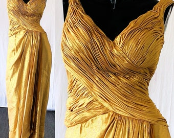 Gold Lame Dress Michael Casey Couture Gold Lame Evening Gown