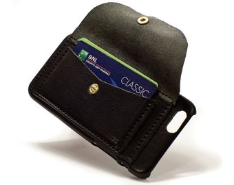 """iPhone 6 4.7 or PLUS 5.5"""" Leather Case handmade in Italy with large credit card holder and a slot colour and device to CHOOSE"""