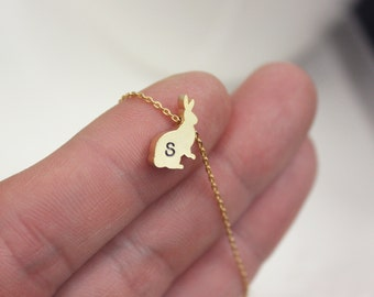 Personalized Initial Rabbit necklace, tiny gold rabbit necklace, initial jewelry, gold bunny