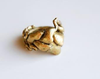 1970s brass brutalist chunky raw sculptural ring / 70s vintage organic brass artisan freeform metalwork ring mans unisex size 9.75