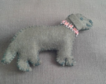 Dog Brooch in brown felt