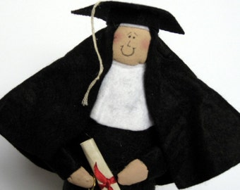 "Nun doll graduate Catholic humor keepsake ""Nun the Wiser"""